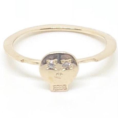 MEMENTO MORI SKULLピンキーリング GOLD (両眼ダイヤモンド)
