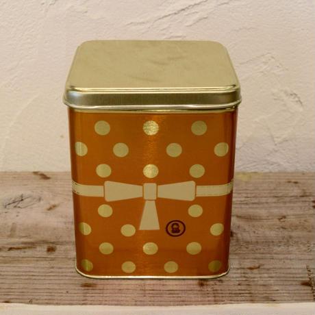 ロシア 水玉模様の缶 オレンジ 中