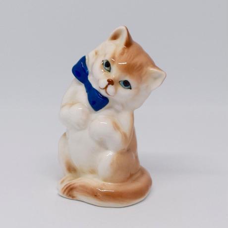 ロイヤルブルーのリボンがお似合いの猫さん