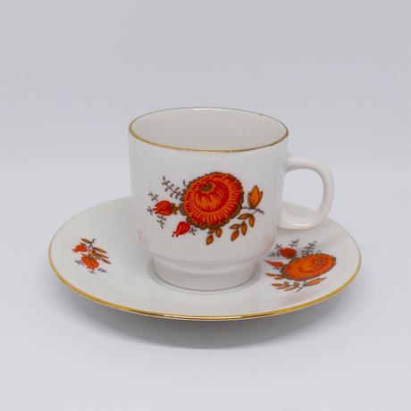 チェコ オレンジのお花のデミタスカップ&ソーサー