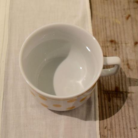 ハンガリー ジョルナイ 水玉マグカップ 黄色