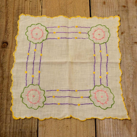 チェコ ハンカチ お花の刺繍