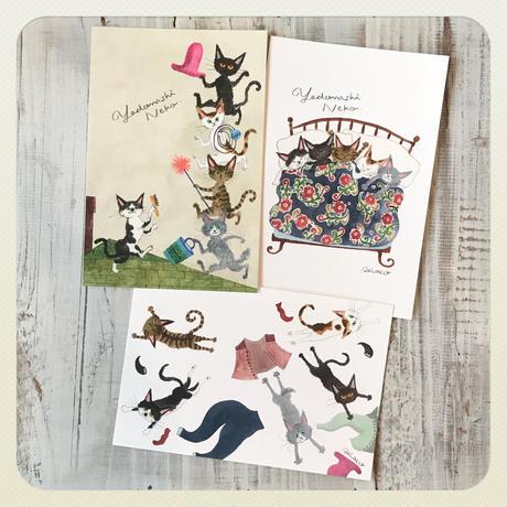 PEIACO「5ひきのやどなしネコ」ポストカード 3枚セット