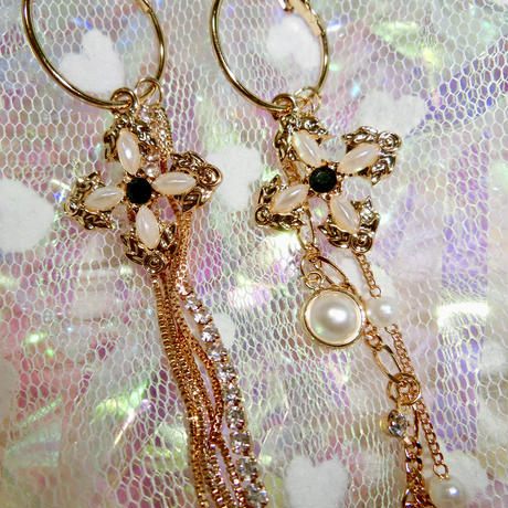 Mysterious Cross Pearl Earrings