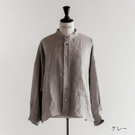 リネン ウール  ヘリンボーン バンドカラーワイドシャツ Heavenly 2050042