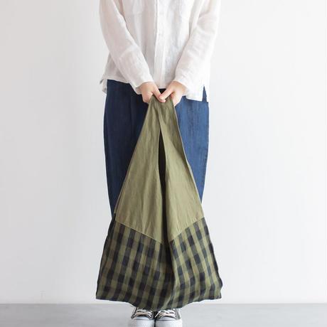 [日本製品染め]リネン マルシェバッグ[チェック]teint TE-012C