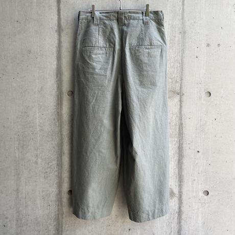 VU - dyed knee wide pants [ GREEN GRAY ]