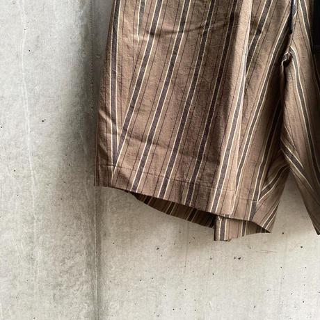 my beautiful landlet - WASHER STRIPE BACK WARP HALF PANTS [ BROWN STRIPE ]