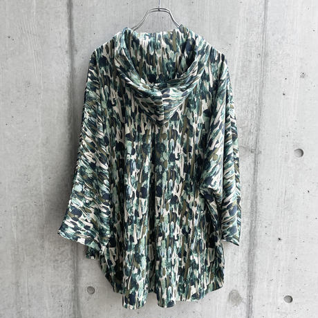 OURET - HOODIE PONCHO SHIRT [ GREEN ]