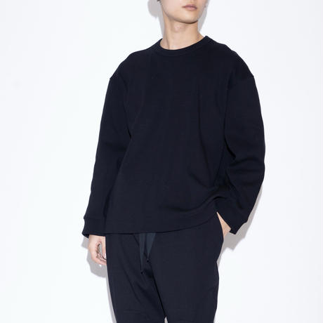 VOAAOV RELAX KNITTED WARP TOPS [ BLK ]