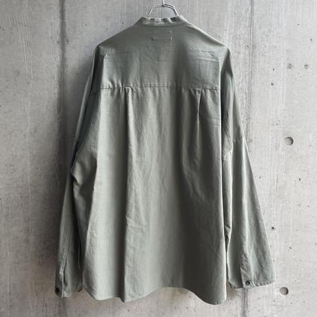 VU - dyed stand collar shirt [ GREEN GRAY ]
