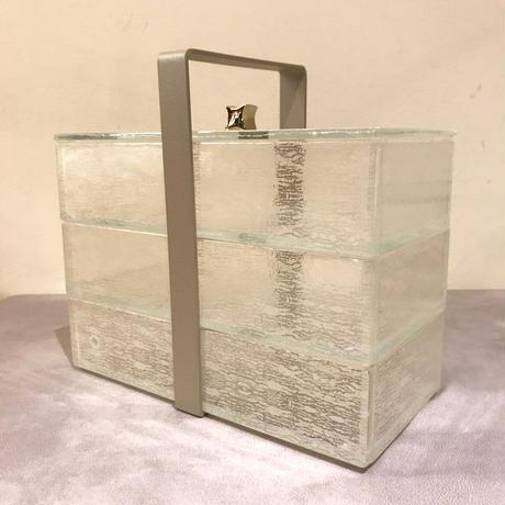 Glass Studio  ハンドル付き3段ボックス  クラックパール