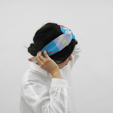 POLSヘアバンド  col : アクア     播州織 -  HBD-2001-005-AQUA