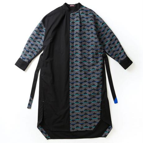 -  SANKAKU-YANE  -       シャツワンピース  col:ブラック