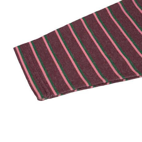 Half zip border long T【Brown】