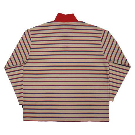 Half zip border long T【Red】