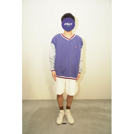 Crossover v neck sweat【Blue】