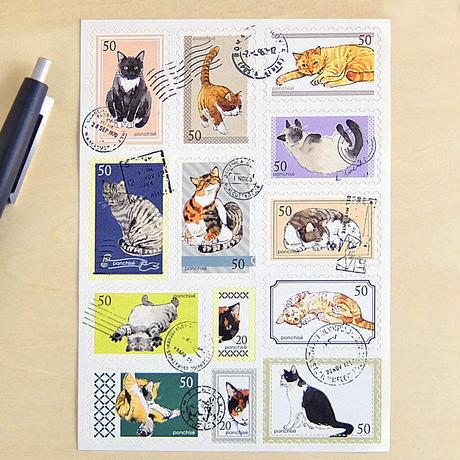 SL02 切手シール  猫