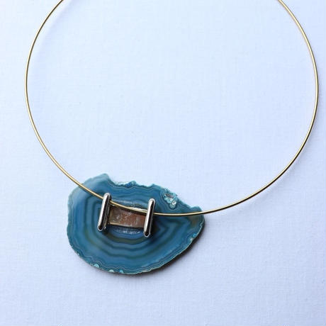 Choker necklace gold/blue