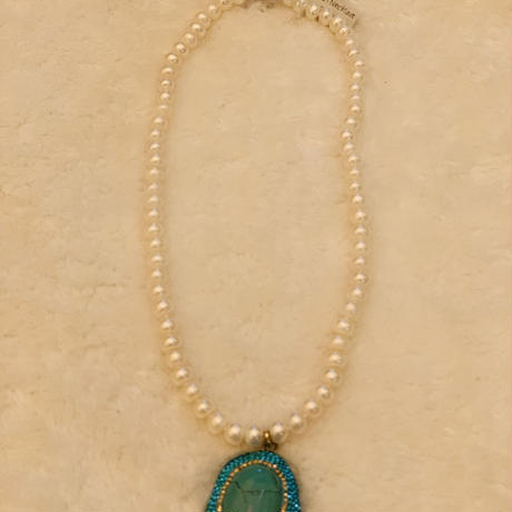 Pearl necklace  ターコイズ