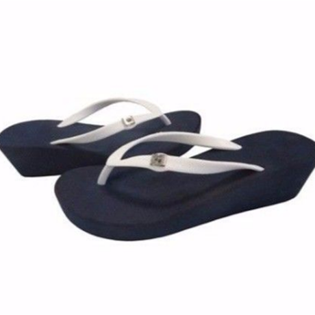 Two Tone Wedges Navy×White Simple Style