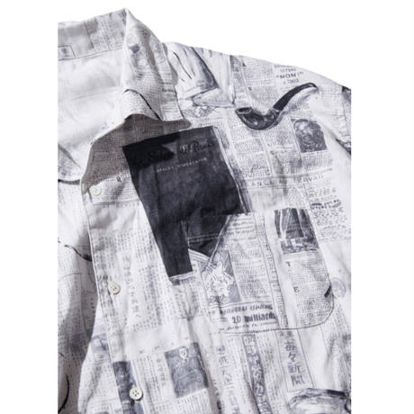 MONSIEUR KURATA COTTON LINEN SHORT SLEEVE SHIRT -WHITE-