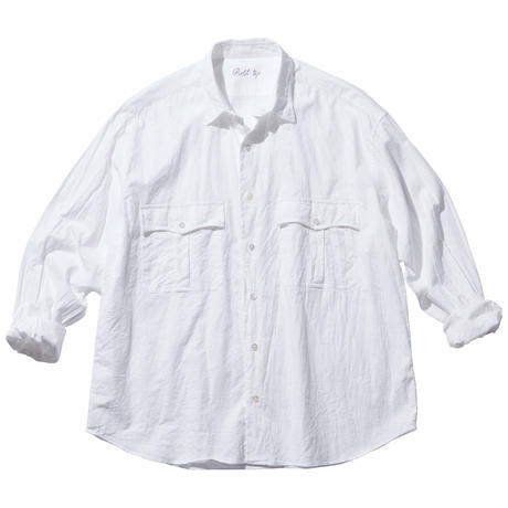 ROLL UP VINTAGE COTTON SHIRT -WHITE-
