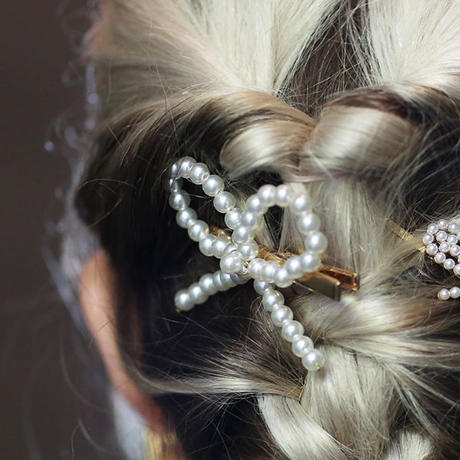 【pour Mademoiselle】リボンパールヘアクリップ
