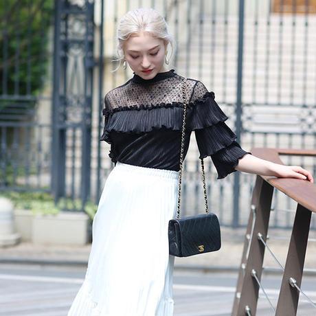 【pour Mademoiselle】デコルテフラワーレースプルオーバー ブラック/ホワイト