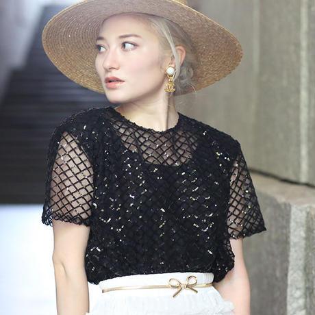 【pour Mademoiselle】スパンコールチェックプルオーバー ブラック