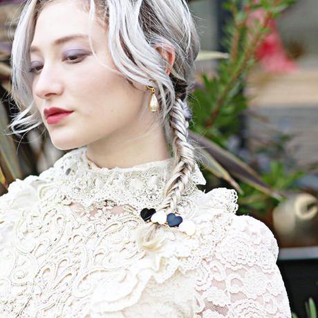 【pour Mademoiselle】バイカラーハートヘアバレッタ