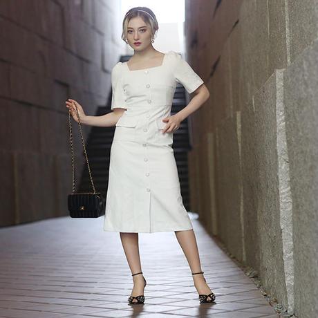 【pour Mademoiselle】スクエアネックタイトワンピース ホワイト