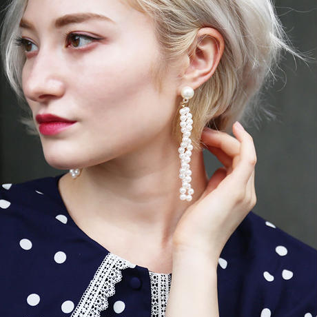 【pour Mademoiselle】パールロングピアス