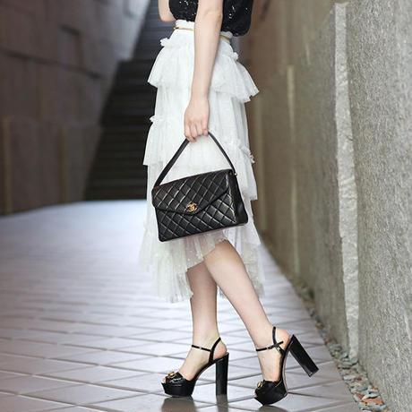 【pour Mademoiselle】ドットチュールロングスカート ブラック/ホワイト