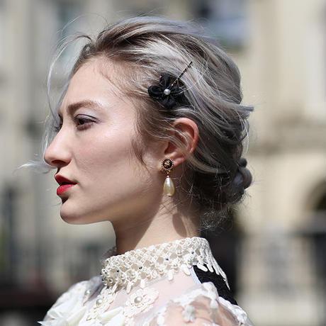 【pour Mademoiselle】パールフラワーヘアピン