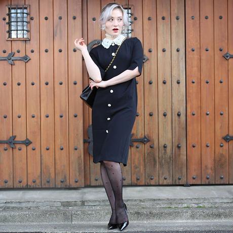 【pour Mademoiselle】ビジューフラワーカラーワンピース ブラック