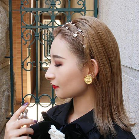 【pour Mademoiselle】ビジューストーンカチューシャ ピンクゴールド