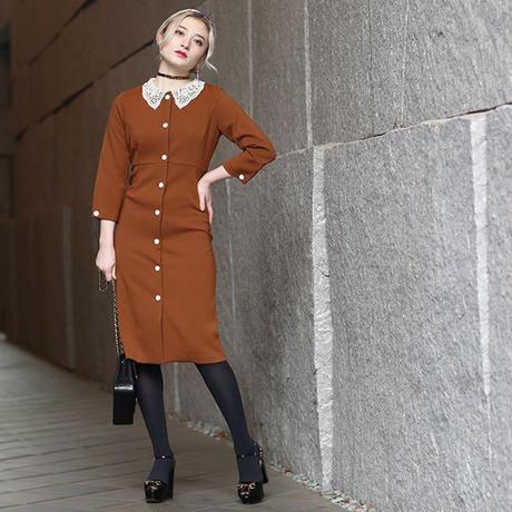 【pour Mademoiselle】フラワーレースカラーワンピース ブラウン/ブラック