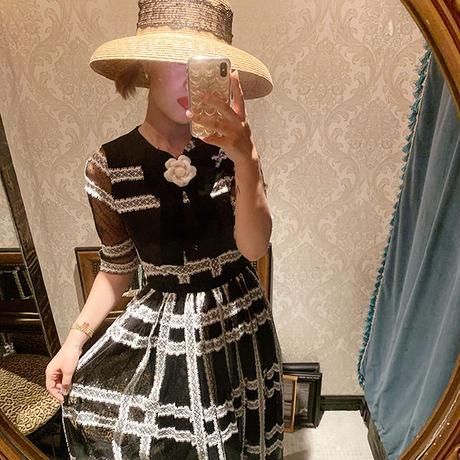 【pour Mademoiselle】レースドットシースルーワンピース ブラック