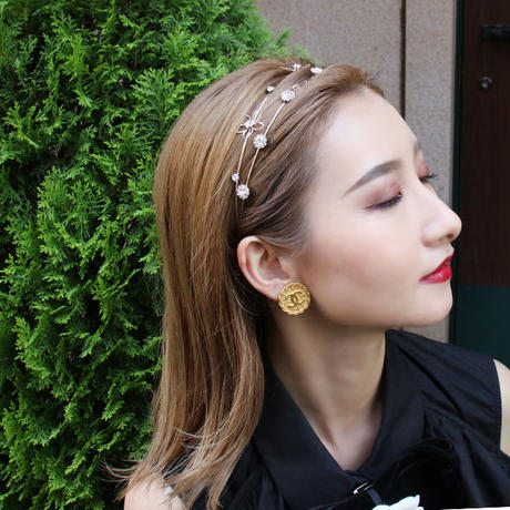 【pour Mademoiselle】フラワーモチーフストーンカチューシャ ピンクゴールド