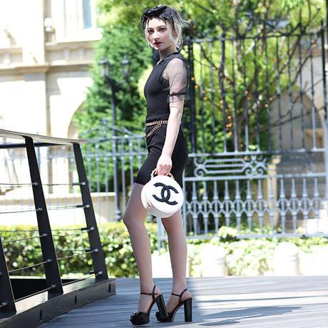 【pour Mademoiselle】アームシースルーワンピース ブラック