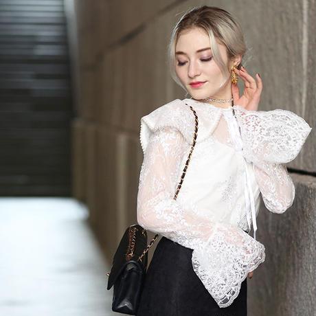 【pour Mademoiselle】レースシースルーブラウス ホワイト/ブラック