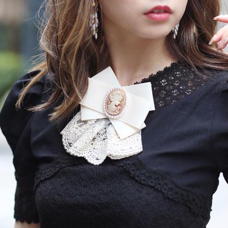 【pour Mademoiselle】カメオリボンレースブローチ&クリップ ブラック/ベージュ