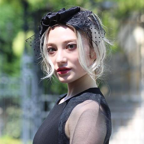 【pour Mademoiselle】ドットチュールリボンカチューシャ ブラック/ベージュ