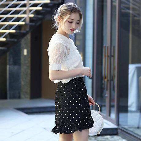 【pour Mademoiselle】フリルドットラップスカート ブラック