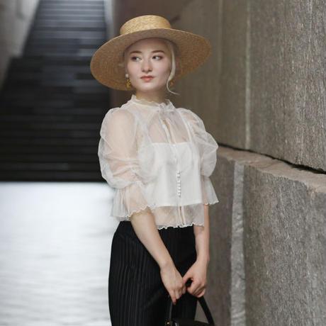 【pour Mademoiselle】ドットチュールシースループルオーバー ブラック/ホワイト