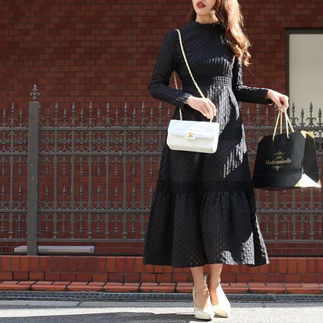 【pour Mademoiselle】ブロックパターンティアードドレス