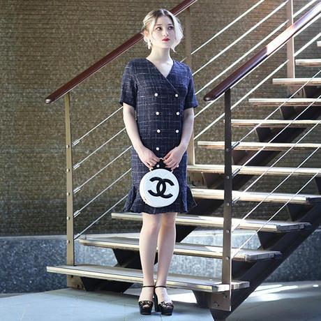 【pour Mademoiselle】ツイードチェックワンピース ネイビー/ホワイト