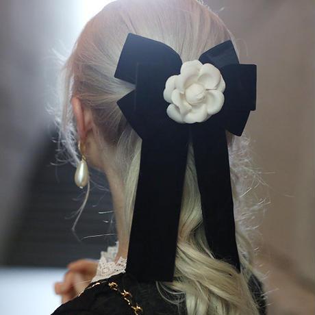 【pour Mademoiselle】カメリアリボンブローチ&クリップ
