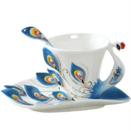 孔雀 コーヒーカップ セラミック マグボーン ソーサー スプーン セット